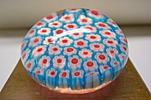 Silvestri Handblown  Blue Cane Art Glass Paperweight (Image1)