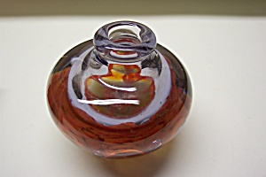 Abstract Orange Cased Glass Ink Bottle Paperweight (Image1)