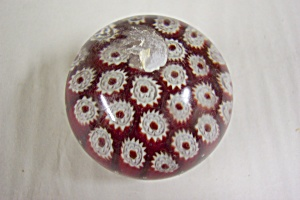 Vintage Murano Red & White Canes Paperweight