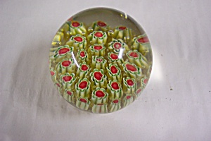 Murano Green & Red Cane Art Glass Paperweight