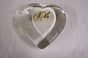 40th Wedding Anniversary Heart-Shaped Paperweight (Image1)