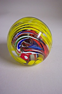 Abstract Swirl Cased Glass pPperweight (Image1)