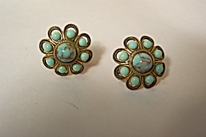 Vintage Turquoise Cabachons Earrings (Image1)