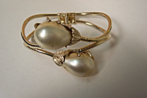 Gold Plated And Faux Pearl Hinged Bracelet