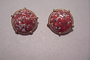 Vintage Gold Tone & Mottled Glass Earrings