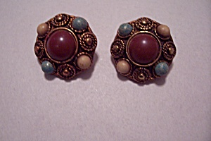 Vintage Copper Colored Plastic & Stone Clip-On Earrings (Image1)