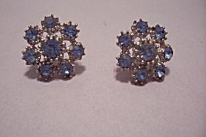 Vintage Light Blue Aurora Borealis Rhinestone Earrings (Image1)