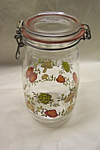 French Decorated 1.5 Liter Self Sealing Jar/cannister