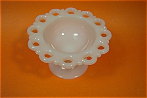 Open Lace Work  Milk Glass Pedestal Bowl (Image1)