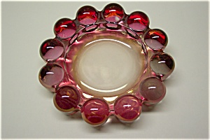 Elegant Cased Dark Pink Art Glass Ash Tray