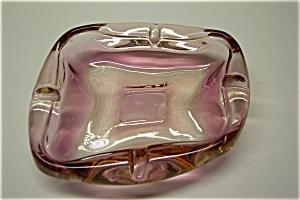 Elegant Light Pink Cased Art Glass Ash Tray (Image1)