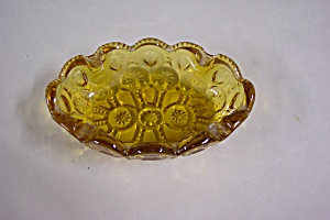 Vintage Amber Glass Daisy & Inverted Button Ash Tray (Image1)