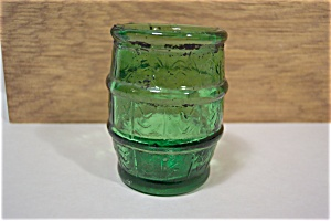 Green Glass Barrel Toothpick Holder