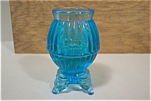 Blue Glass Pot Belly Stove Toothpick Holder