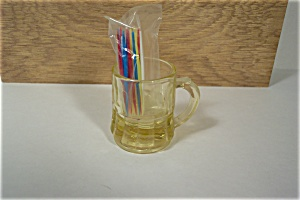 Vaseline Glass Mug Shaped Toothpick Holder