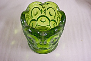 Vintage Green Thumbprint & Star Glass Toothpick Holder (Image1)