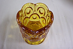 Vintage Amber Thumbprint & Star Toothpick Holder (Image1)