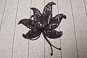 Vintage Cloth Leaf Brooch With Sequins & Tiny Beads (Image1)