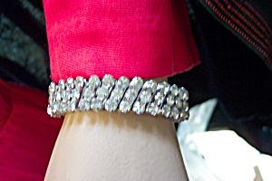 Vintange 3-Row Rhinestone Flexible Bracelet (Image1)