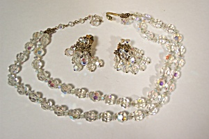 Vintage Aurora Borealis Necklace & Earring Set (Image1)