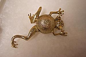 Vintage Rhinestone Frog Brooch/Pin (Image1)