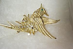 Vintage Bird Of Paradise Rhinestone Brooch (Image1)