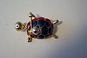Vintage Enamel and Gold Plated Turtle Brooch/Pin (Image1)
