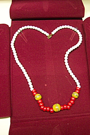 Vintage White And Multi Colored Glass Bead Necklace (Image1)