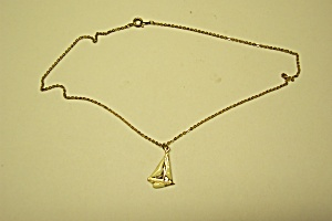 Vintage Gold Tone Chain Necklace With Sailboat Drop (Image1)