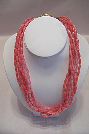 Vintage 8-Strand Pink Bead Necklace (Image1)