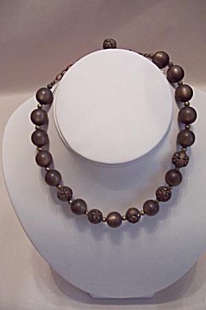 Vintage Brown Glass & Metal Bead Bracelet (Image1)