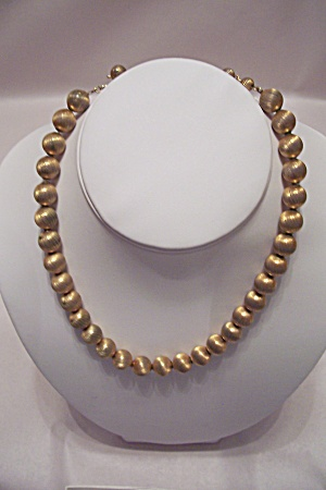 Vintage Gold-Tone Metal Bead Necklace (Image1)