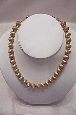 Vintage Gold-Tone Metal Bead Necklace (Image1)