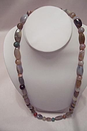 Vintage Polished Agate Bead Necklace (Image1)