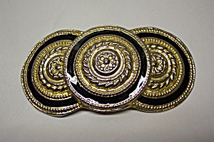 Large Brass & Black Enamel Belt Buckle (Image1)