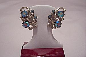 Vintage Coro Aurora Borealis Rhinestone Clip Earrings (Image1)