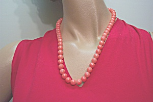 Vintage Pink Coral Colored Glass Bead Necklace (Image1)