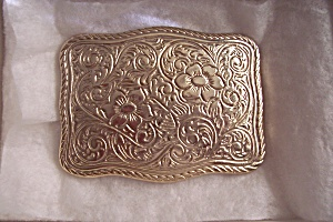 Gold Plated Engraved Floral Belt Buckle (Image1)