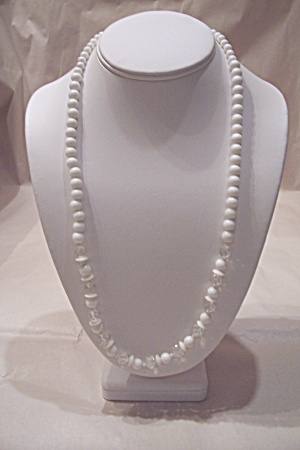 Vintage White & Crystal Glass Bead Necklace (Image1)