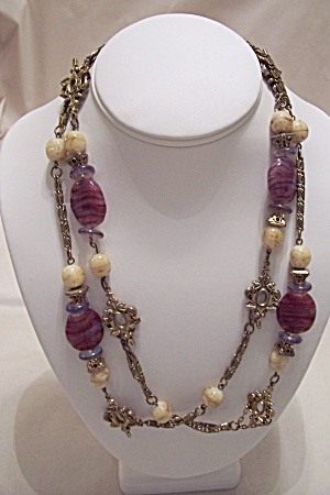 Vintage Glass Bead & Gold Tone Link Necklace (Image1)