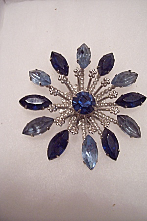 Vintage Two-Tone Blue Rhinestone Brooch/Pin (Image1)