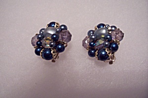 Vintage Rhinestone & Bead Clip-on Earrings