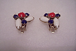 Red, White & Blue Stone Clip-on Earrings