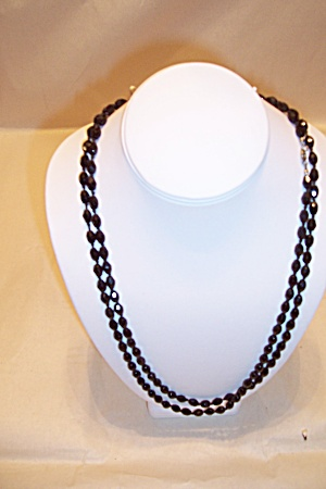 Vintage Black Faceted Glass Bead Necklace (Image1)