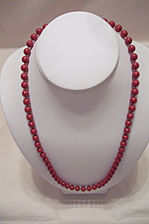 Vintage Cranberry Red Bead Necklace