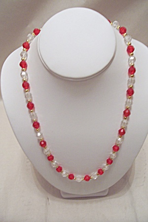 Vintage Red & Clear Faceted Bead Necklace