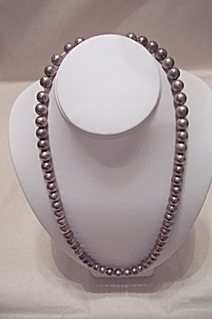 Vintage Silver Colored Bead Necklace