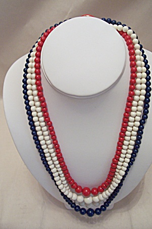 Vintage Patriotic Red, White & Blue Bead Necklace