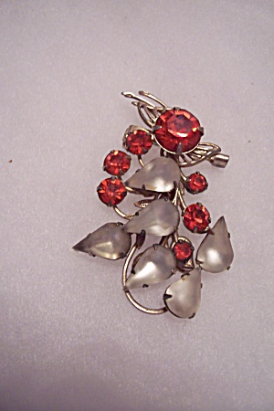 Vintage Red & Satin Glass Rhinestone Brooch (Image1)