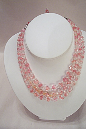 Vintage Cased Pink Glass Bead 3-Strand Necklace (Image1)